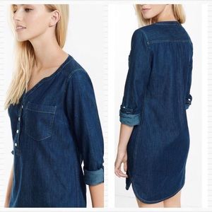 New EXPRESS Dark Denim Blue Popover Shirt Dress